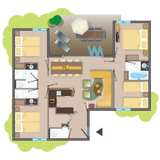 fr cottage premium eden tf956 de center parcs les trois for ts. Black Bedroom Furniture Sets. Home Design Ideas